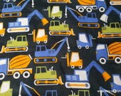 Flannel Fabric - Construction Trucks on Black - By the yard - 100% Cotton Flannel