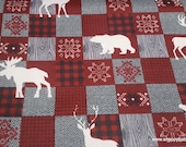 Christmas Flannel Fabric - Moose and Stag Patchwork - By the yard - 100% Cotton Flannel