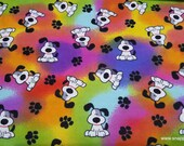 Flannel Fabric - Spot Pup on Tie Dye - By the yard - 100% Cotton Flannel