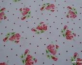 Premium Flannel Fabric - Sweet Pea Flowers and Dots on White Premium - By the yard - 100% Cotton Flannel