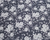 Flannel Fabric - Vintage Roses Gray - By the yard - 100% Cotton Flannel