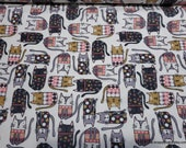 Flannel Fabric - Pattern Trap Cat on White - By the yard - 100% Cotton Flannel