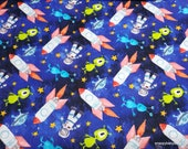 Flannel Fabric - Space Aliens Rockets Astronauts - By the yard - 100% Cotton Flannel