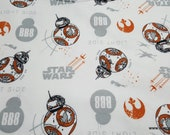 Character Flannel Fabric - Star Wars VIII Last Jedi BB8 - By the yard - 100% Cotton Flannel