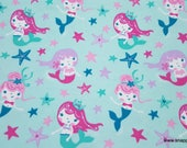 Flannel Fabric - Flowing Mermaids - By the Yard - 100% Cotton Flannel