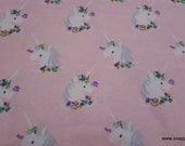 Flannel Fabric - Unicorns on Pink - By the yard - 100% Cotton Flannel
