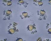 Flannel Fabric - Toss Bee on Gray - By the yard - 100% Cotton Flannel