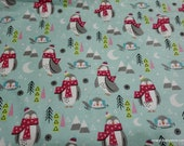 Christmas Flannel Fabric - Polar Penguins - By the yard - 100% Cotton Flannel