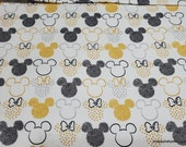 Character Flannel Fabric - Disney Mickey Minnie Icons - By the yard - 100% Cotton Flannel