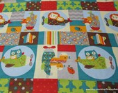 Flannel Fabric - Baby Animals Plane Patch - By the yard - 100% Cotton Flannel