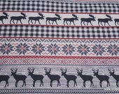 Christmas Flannel Fabric - Moose and Stag Fairisle Stripe - By the yard - 100% Cotton Flannel