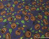 Flannel Fabric - Pumpkin Party on Dark Purple Premium Flannel - By the yard - 100% Cotton Flannel