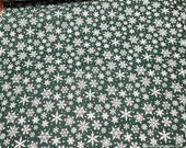 Christmas Flannel Fabric - Snowflakes Green - By the yard - 100% Cotton Flannel