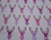 Flannel Fabric - Bright Tribal Stag - By the yard - 100% Cotton Flannel