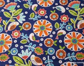 Flannel Fabric - Birdies and Flowers Coral Teal - By the Yard - 100% Cotton Flannel