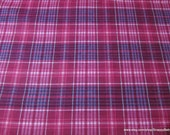Flannel Fabric - Leighton Pink Plaid - By the yard - 100% Cotton Flannel