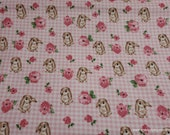 Flannel Fabric - Bunny on Gingham - By the yard - 100% Cotton Flannel