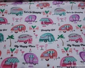 Flannel Fabric - Glamping Girl - By the Yard - 100% Cotton Flannel