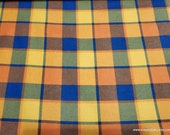 Flannel Fabric - Orange Navy Blackwatch Plaid - By the Yard - 100% Cotton Flannel