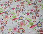 Flannel Fabric - Happy Rainbows on White - By the yard - 100% Cotton Flannel