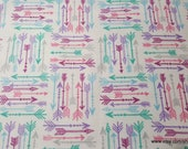 Flannel Fabric - Gypsy Arrows on White - By the yard - 100% Cotton Flannel