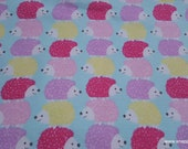 Flannel Fabric - Pastel Stacked Hedgehog - By the yard - 100% Cotton Flannel