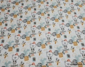 Flannel Fabric - World Traveler Bear - By the yard - 100% Cotton Flannel