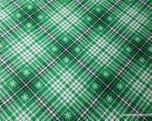 Christmas Flannel Fabric - Snowflakes on Plaid Green - By the yard - 100% Cotton Flannel