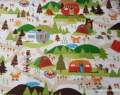 Flannel Fabric - Campground on White - By the yard - 100% Cotton Flannel