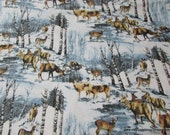 Christmas Flannel Fabric - Wintertime Deer - By the yard - 100% Cotton Flannel