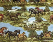 Flannel Fabric - Realistic Horses - By the Yard - 100% Cotton Flannel
