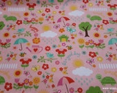 Flannel Fabric - Bloom Where You're Planted April Showers Pink - By the yard - 100% Cotton Flannel