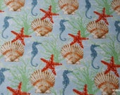 Flannel Fabric - Starfish and Seashells - By the yard - 100% Cotton Flannel