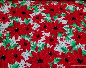 Christmas Flannel Fabric - Poinsettia on Dots  - By the yard - 100% Cotton Flannel