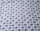 Flannel Fabric - Grey Elephants - By the yard - 100% Cotton Flannel