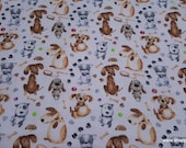 Flannel Fabric - Chubby Pup Max - By the yard - 100% Cotton Flannel
