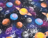 Flannel Fabric - Galaxy Planets - By the yard - 100% Cotton Flannel