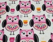 Flannel Fabric - Folk Owls - By the yard - 100% Cotton Flannel