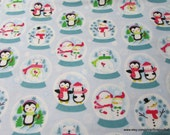 Christmas Flannel Fabric - Snowglobe Friends - By the yard - 100% Cotton Flannel