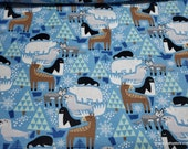 Christmas Flannel Fabric - Winter Animals - By the yard - 100% Cotton Flannel