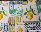 Flannel Fabric - Vintage Lemon Patch - By the yard - 100% Cotton Flannel
