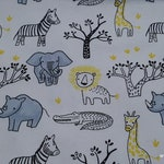 Reserved Listing - Flannel Fabric - Black White Yellow Safari - 1.5 yards - 100% Cotton Flannel