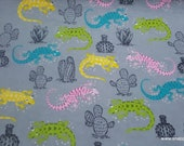 Flannel Fabric - Bright Iguanas - By the yard - 100% Cotton Flannel