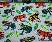 Flannel Fabric - Dart Frogs on Gray - By the yard - 100% Cotton Flannel
