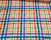 Flannel Fabric - Bright Floral Plaid - By the yard - 100% Cotton Flannel