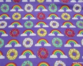 Flannel Fabric - Rainbows and Donuts - By the yard - 100% Cotton Flannel