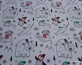 Christmas Flannel Fabric - Sketched Holiday Animals - By the yard - 100% Cotton Flannel