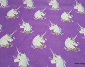 Flannel Fabric - Unicorns on Purple - By the yard - 100% Cotton Flannel