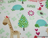 Flannel Fabric - Animal Friends - By the yard - 100% Cotton Flannel