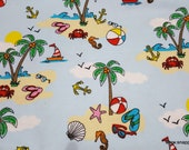 Flannel Fabric - Beach Day - By the yard - 100% Cotton Flannel
